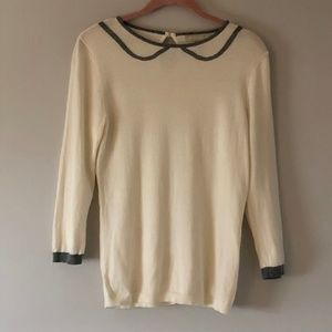 BR Cream Sweater with Faux Gray Peter Pan Collar